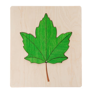 ABAfactory - Wooden Jigsaw Puzzle - Maple Tree Leaf - Green - Bella Luna Toys