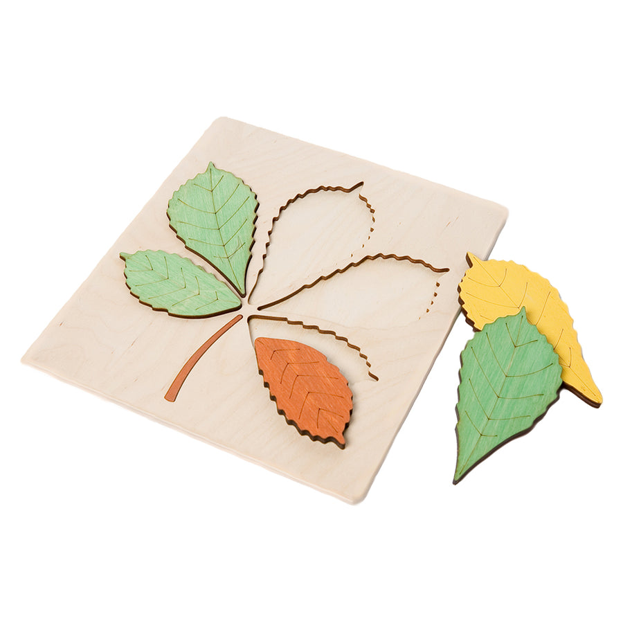 ABAfactory - Wooden Jigsaw Puzzle - Chestnut Tree Leaf - Disassembled View - Bella Luna Toys