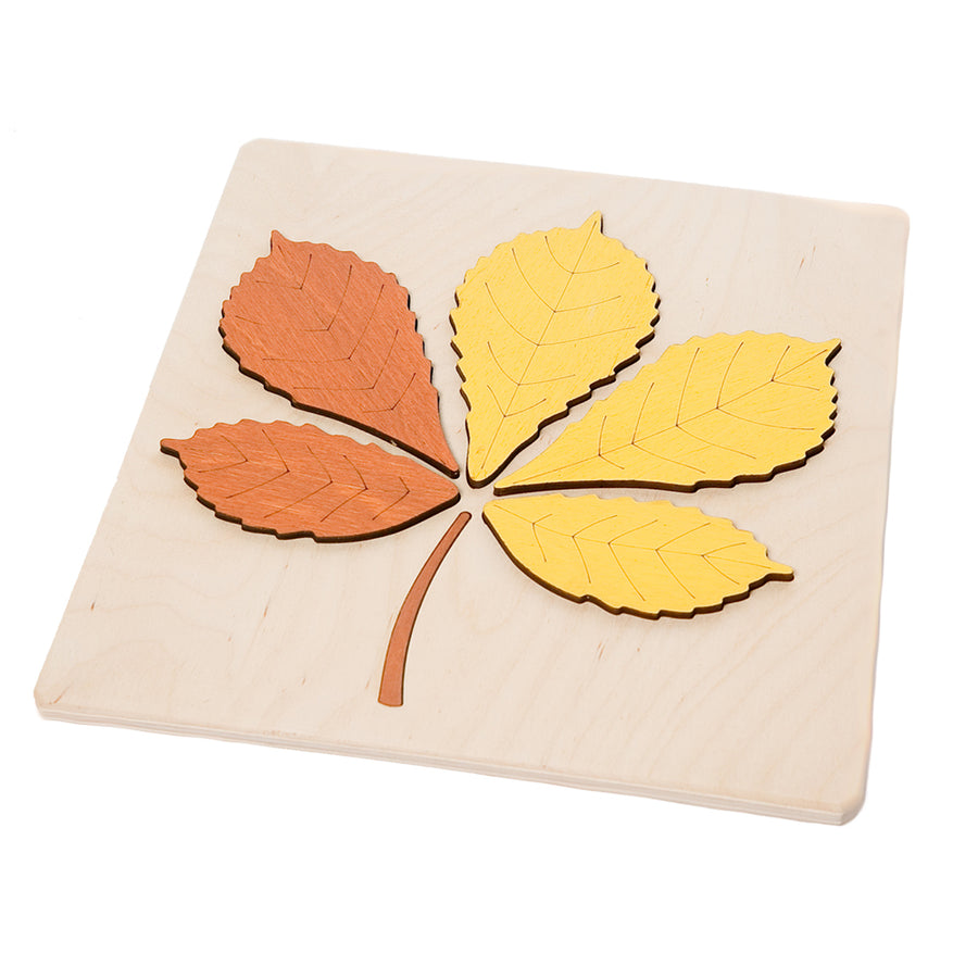 ABAfactory - Wooden Jigsaw Puzzle - Chestnut Tree Leaf - Educational Learning Play - Bella Luna Toys