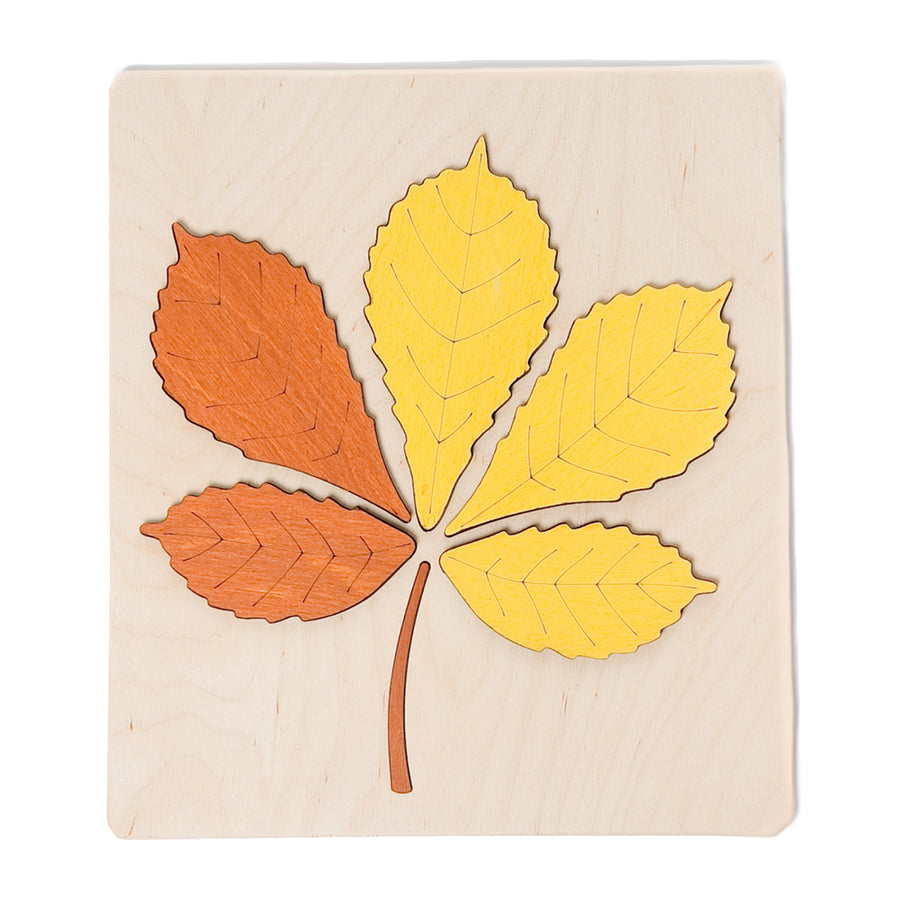 ABAfactory - Wooden Jigsaw Puzzle - Chestnut Tree Leaf - Yellow & Orange - Bella Luna Toys
