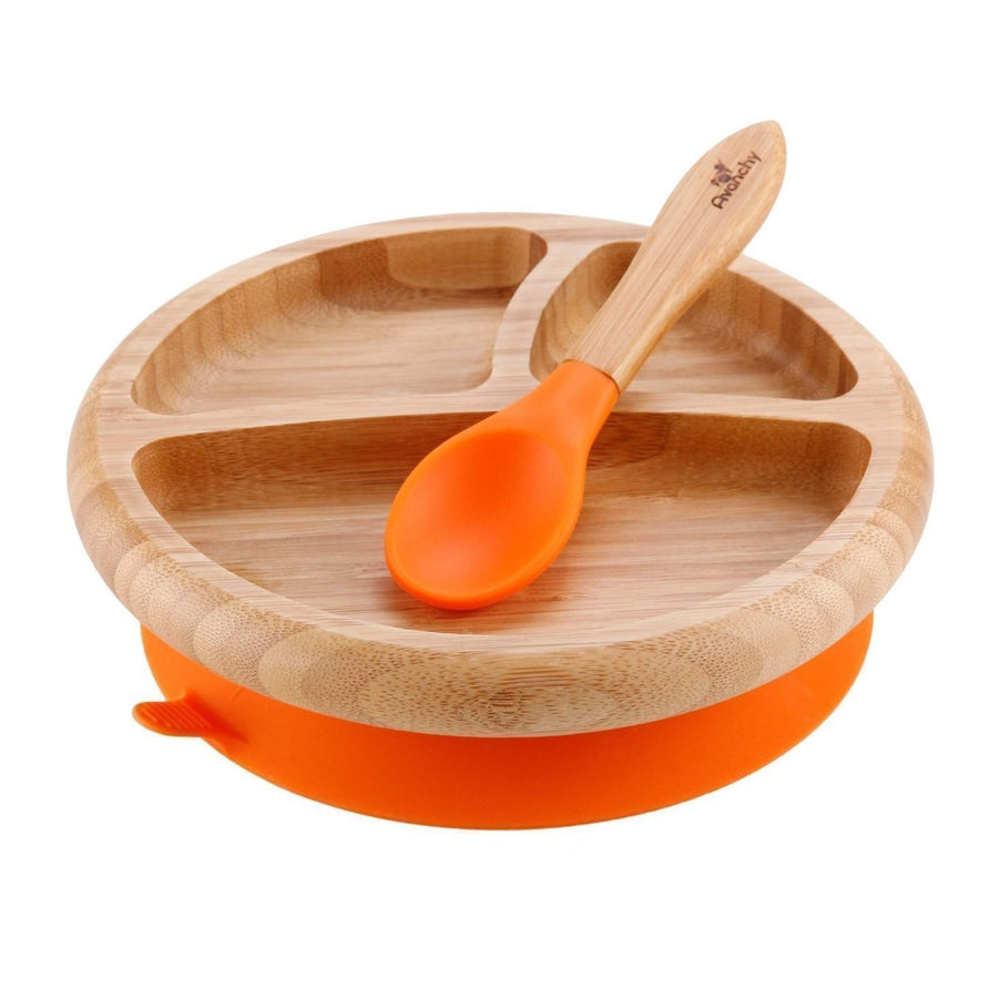 Avanchy Bamboo Baby Dishware Set - Suction Plate & Spoon Set - Orange - Bella Luna Toys