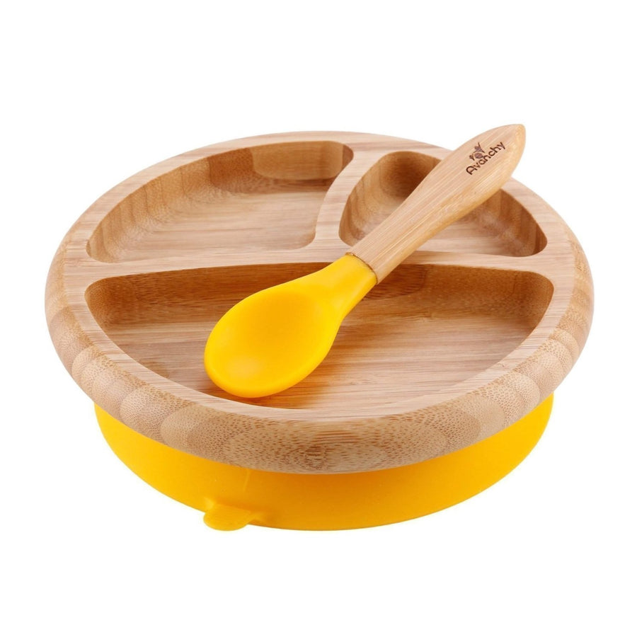 Avanchy Bamboo Baby Dishware Set - Suction Plate & Spoon Set - Yellow - Bella Luna Toys