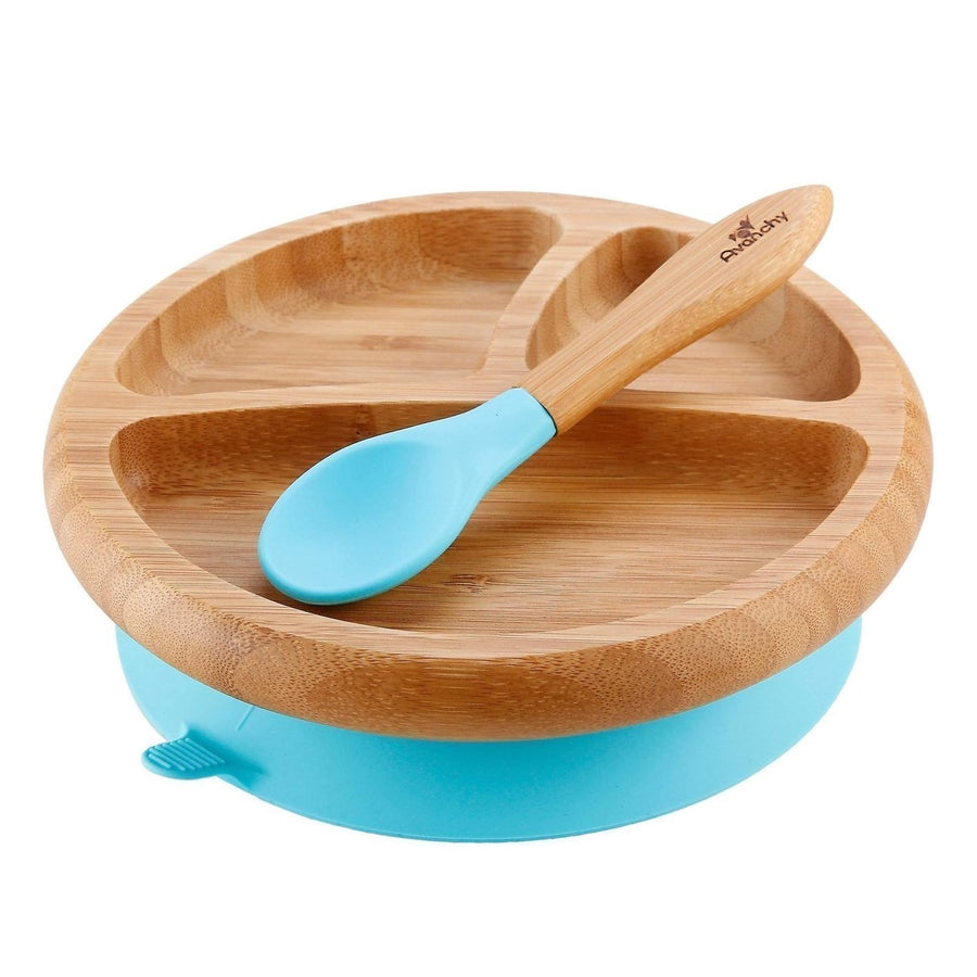 Avanchy Bamboo Baby Suction Plate and Spoon Dishware Set - Blue - Bella Luna Toys