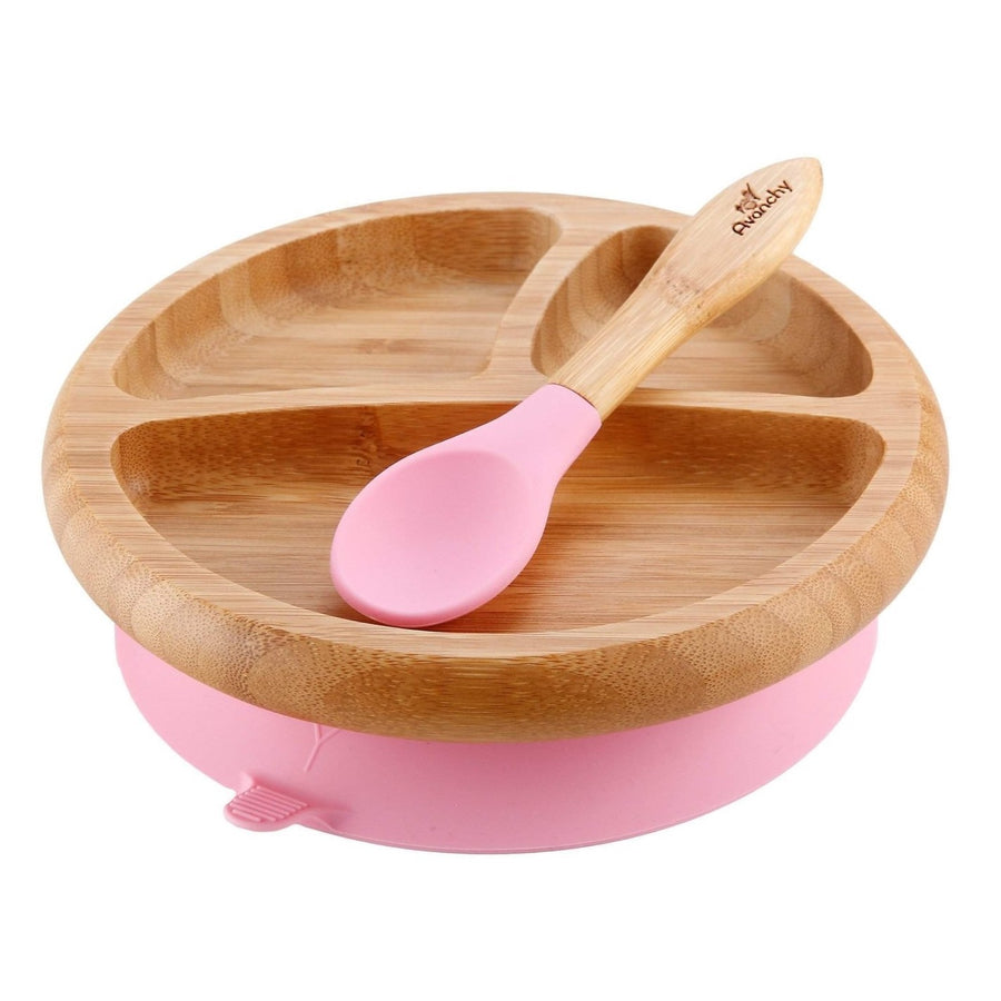 Avanchy Bamboo Baby Dishware Set - Suction Plate & Spoon Set - Pink - Bella Luna Toys