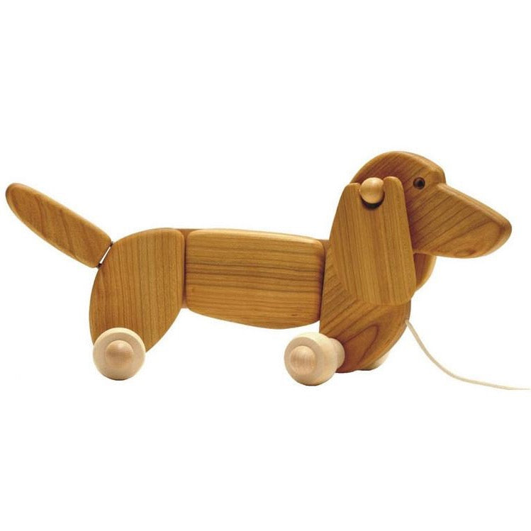 Bajo Dachshund Wooden Pull Toy, Natural
