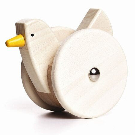 Bajo Wobbling Chicken Wooden Toy, Natural