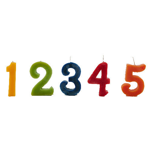 Beeswax Birthday Cake Candles - Numbers 1-5