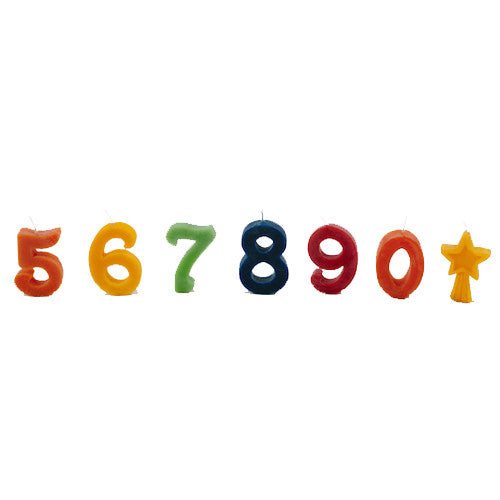 Beeswax Birthday Cake Candles - Numbers 5-0 + Star