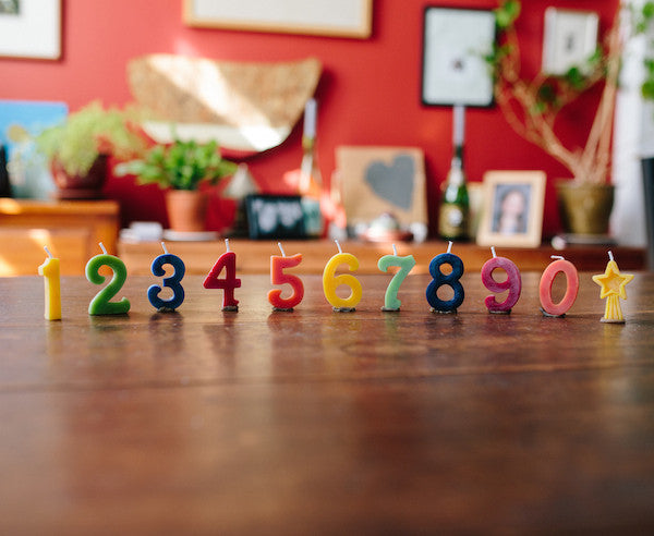 Beeswax Birthday Number Candles - Cake Toppers