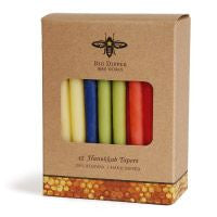 Hanukkah Beeswax Taper Candles - Multi-Colored