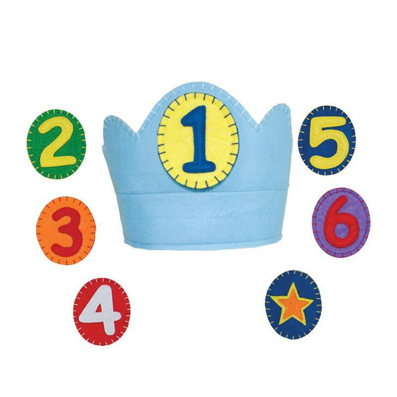 Blue Felt Annual Birthday Crown with Numbers