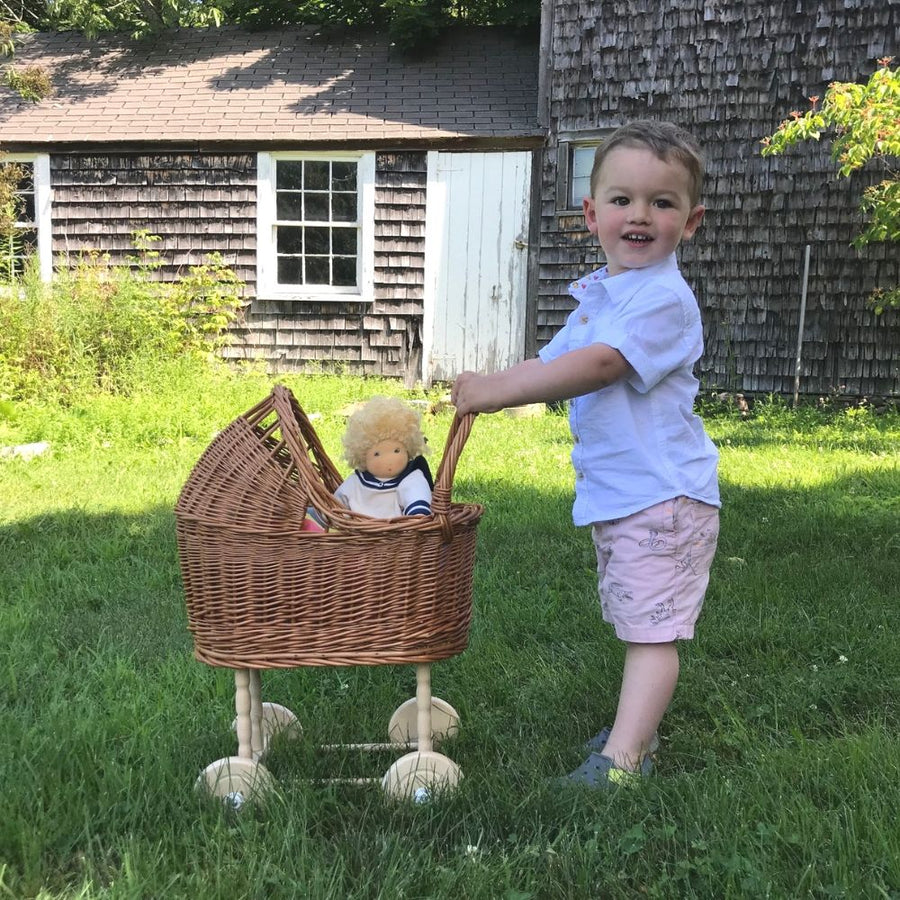 Wicker Doll Pram with Boy Outside - Egmont Toys - Bella Luna Toys