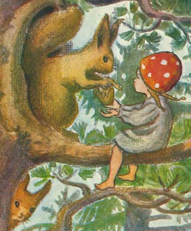 Children of the Forest, Elsa Beskow, Illustration, Squirrel