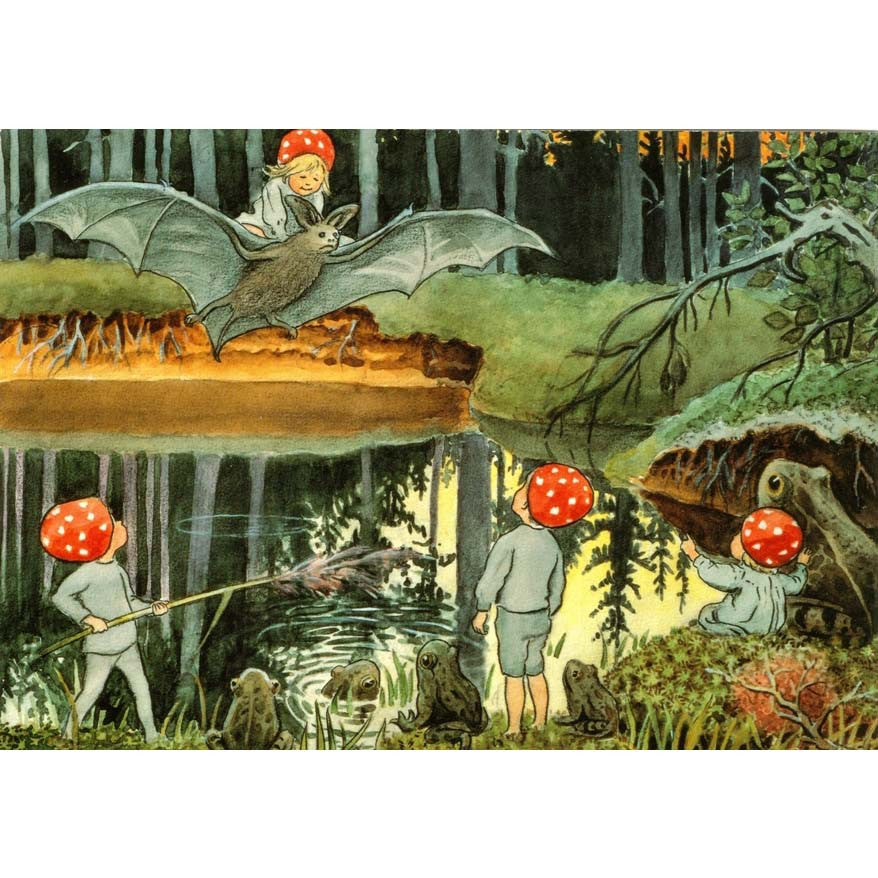 Children of the Forest, Elsa Beskow, Illustration Bat