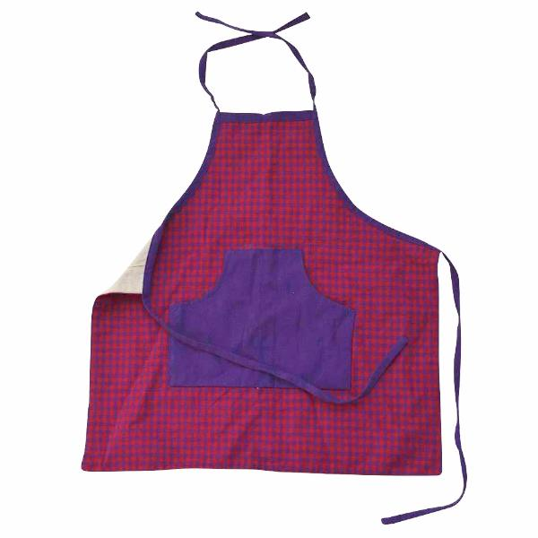 Children's Apron | Red and Purple Gingham | Bella Luna Toys