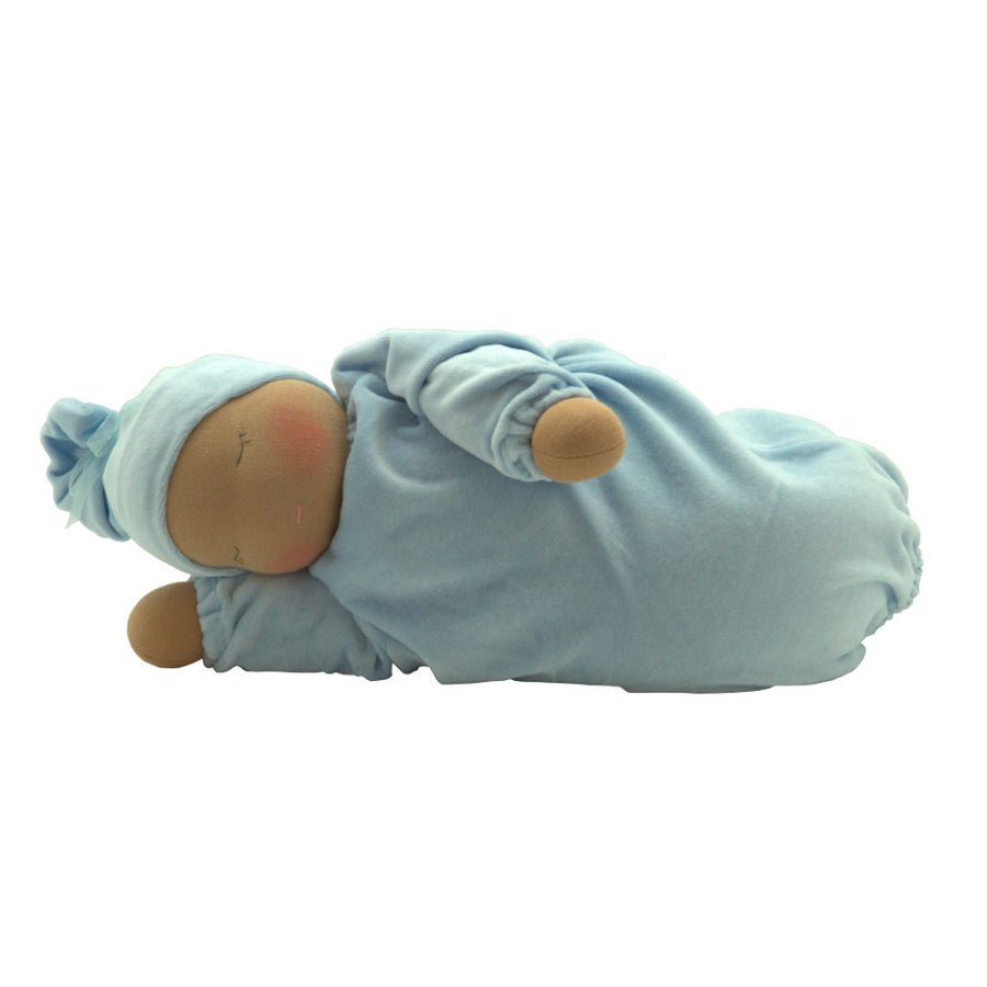 Heavy Baby Waldorf Doll - Cocoa/Light Blue