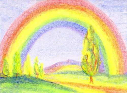 Coloring With Block Crayons, Rainbow