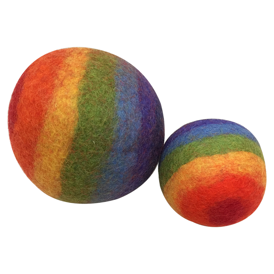 Colours of Australia - Papoose - Rainbow Wool Felt Balls - Set of Two