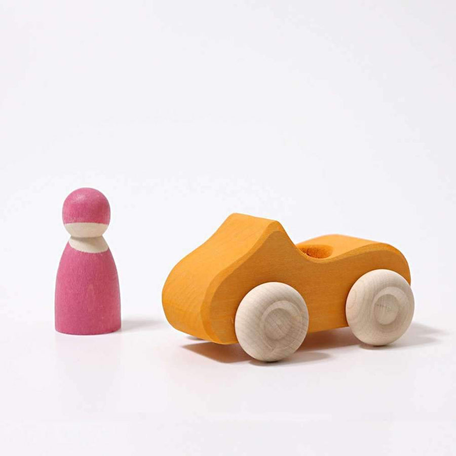 Grimm's Yellow Convertible Wood Car - Bella Luna Toys