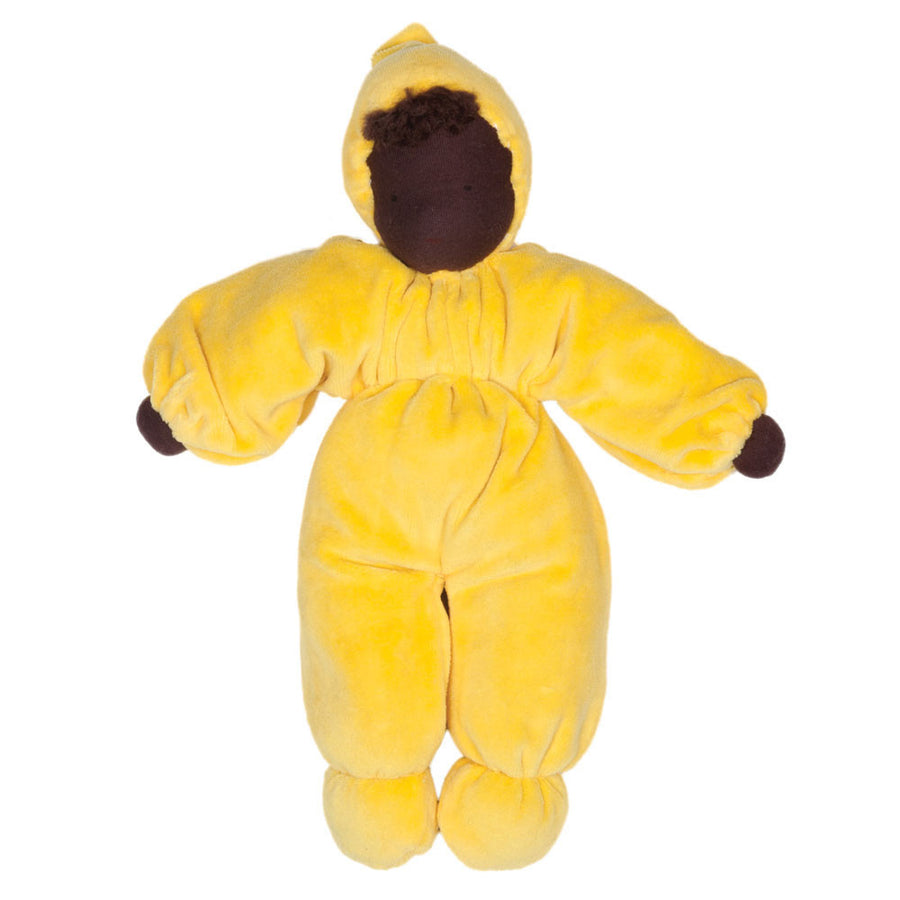 Evi Cuddle Baby Waldorf Doll - Yellow with Dark Skin