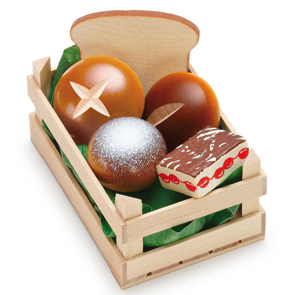 Assorted Bakery Goods In Crate Wooden Play Food