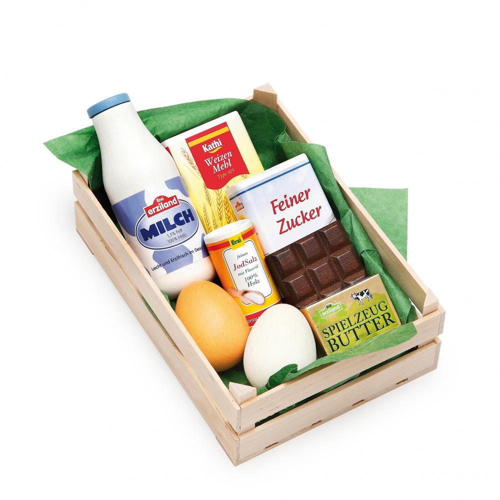 Assorted Baking Ingredients In Crate Wooden Play Food