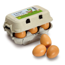 Wooden Brown Eggs - Six Pack - Erzi