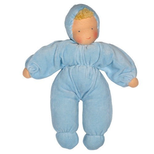 Evi Cuddle Waldorf Baby Doll, Blue, Fair