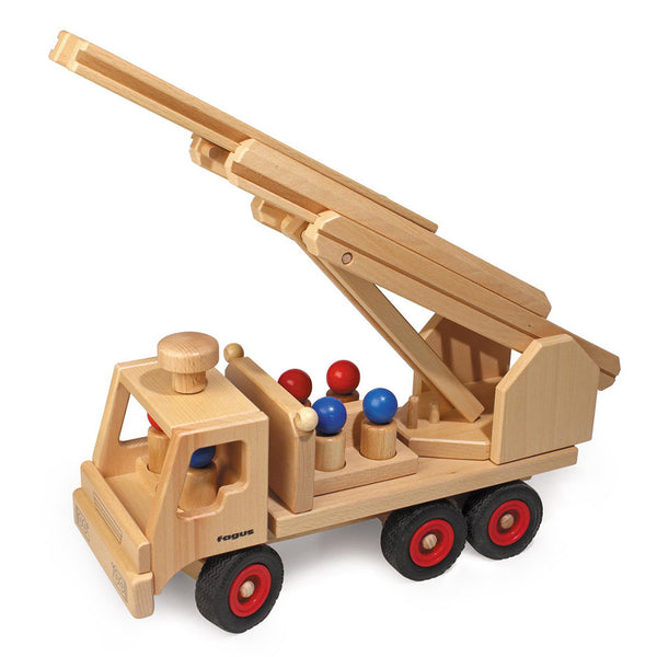 Wooden Toy Vehicles on end dump tractor trailer