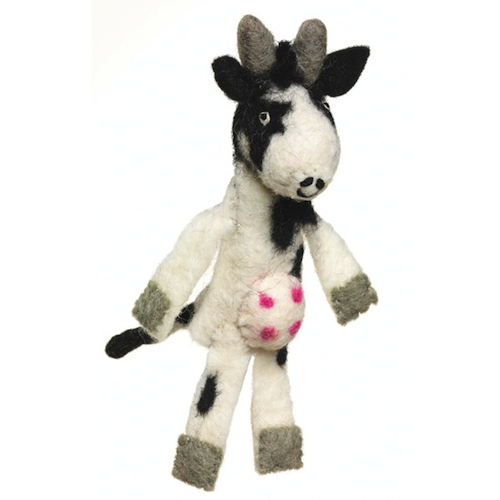 Wool Felt Finger Puppet, Cow, Fair Trade