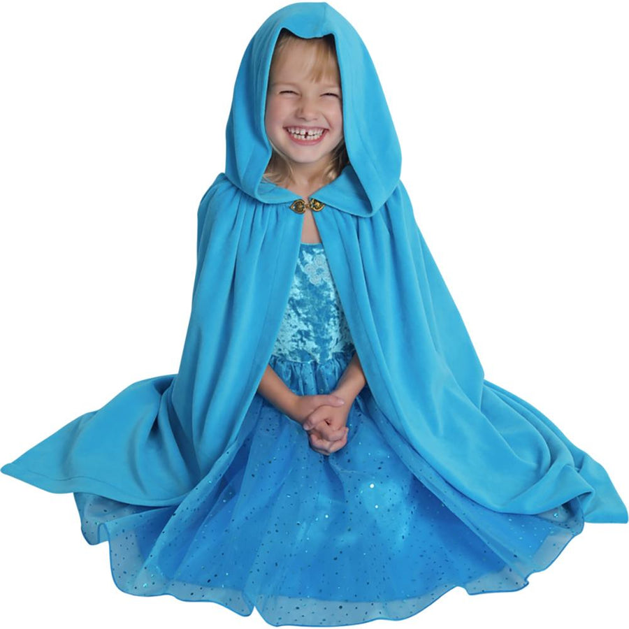Girls Cloak - Cotton Velour - Turquoise Child's Cape - Bella Luna Toys