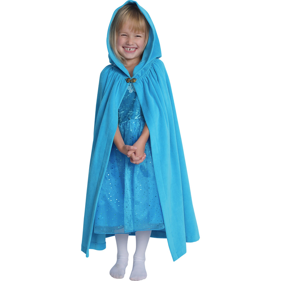 Kids Cloak - Cotton Velour - Turquoise Girls Cape - Bella Luna Toys