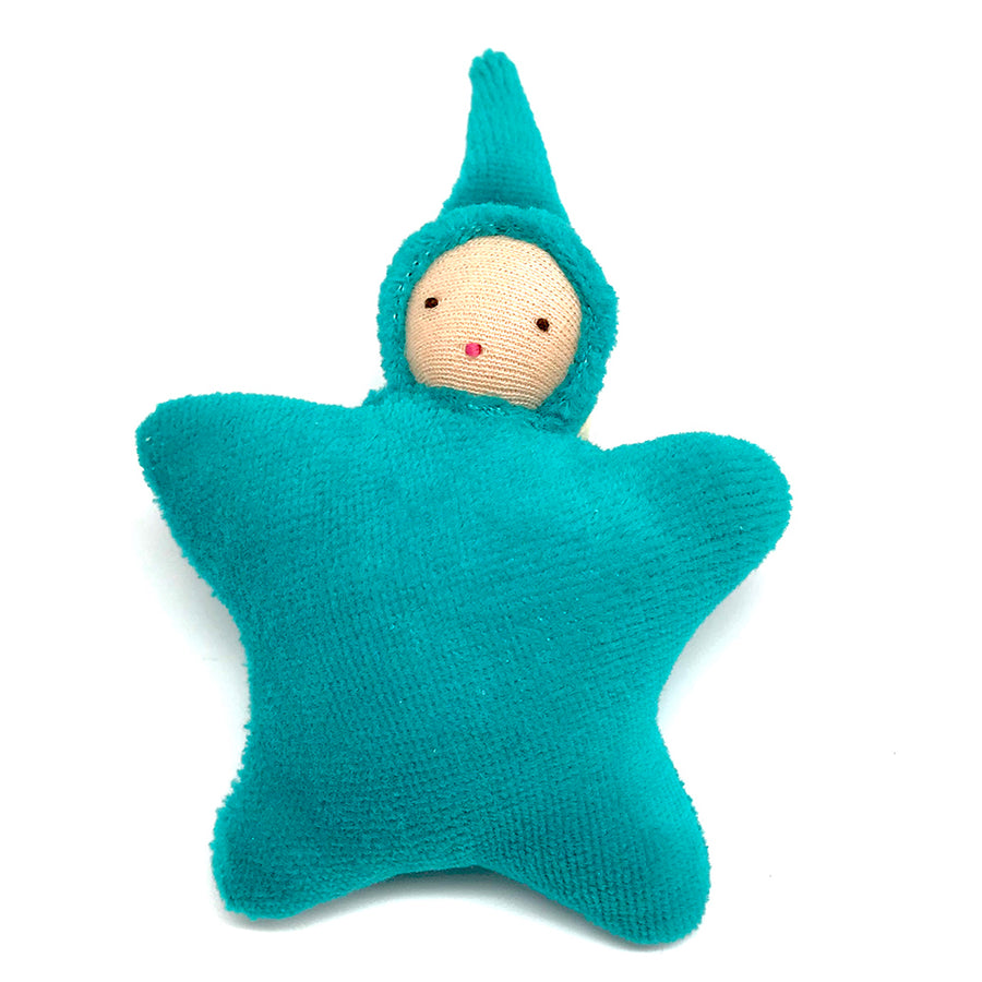 Star Child Miniature Waldorf Baby Doll - Bella Luna Toys - Peach Teal