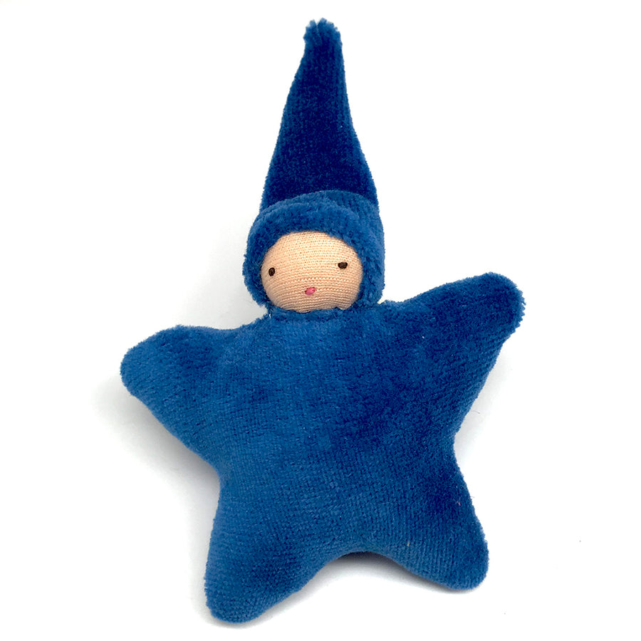 Star Child Miniature Waldorf Baby Doll - Bella Luna Toys - Peach Skin - Royal Blue