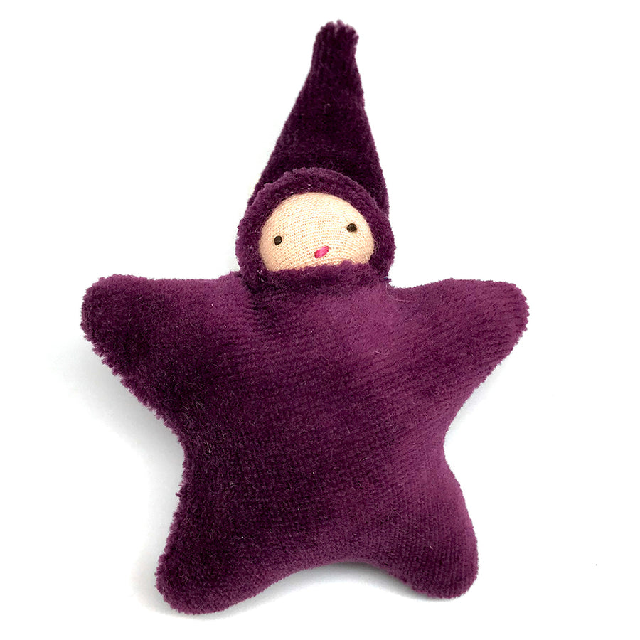 Star Child Miniature Waldorf Baby Doll - Bella Luna Toys - Peach Skin, Purple