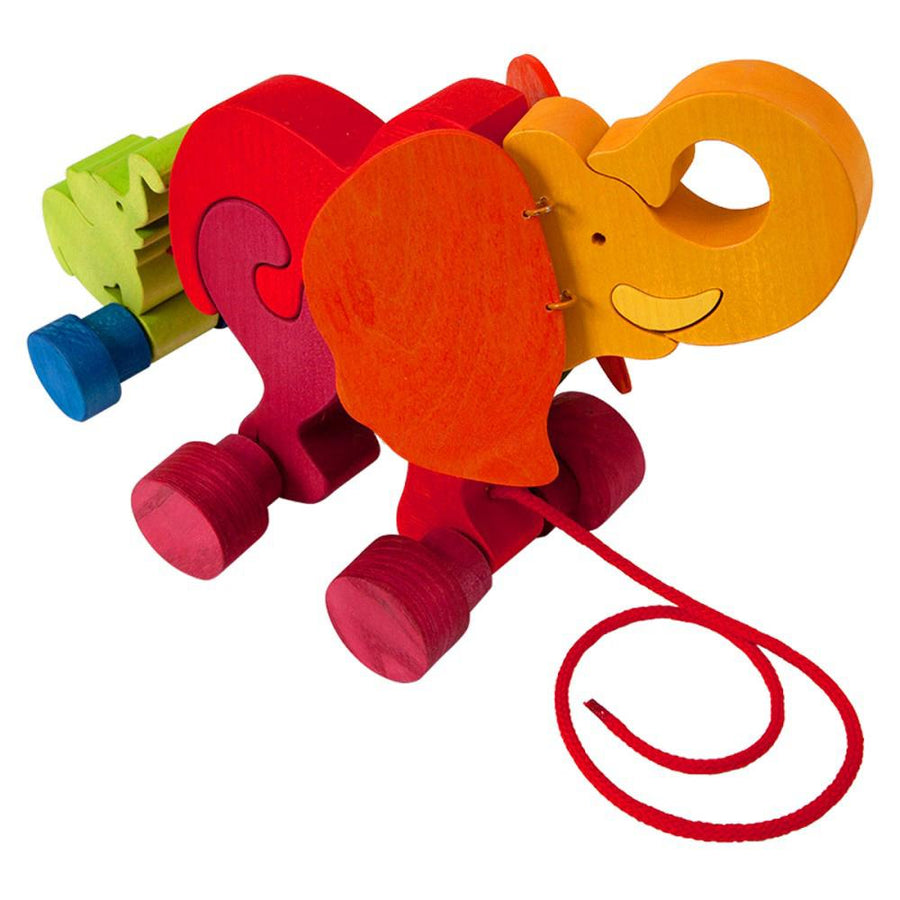 Wooden Pull-Along Elephant Toy - Bella Luna Toys