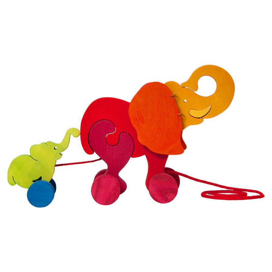 Wooden Elephant Toddler Pull Toy - Bella Luna Toys