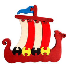Wooden Viking Ship Puzzle - Bella Luna Toys