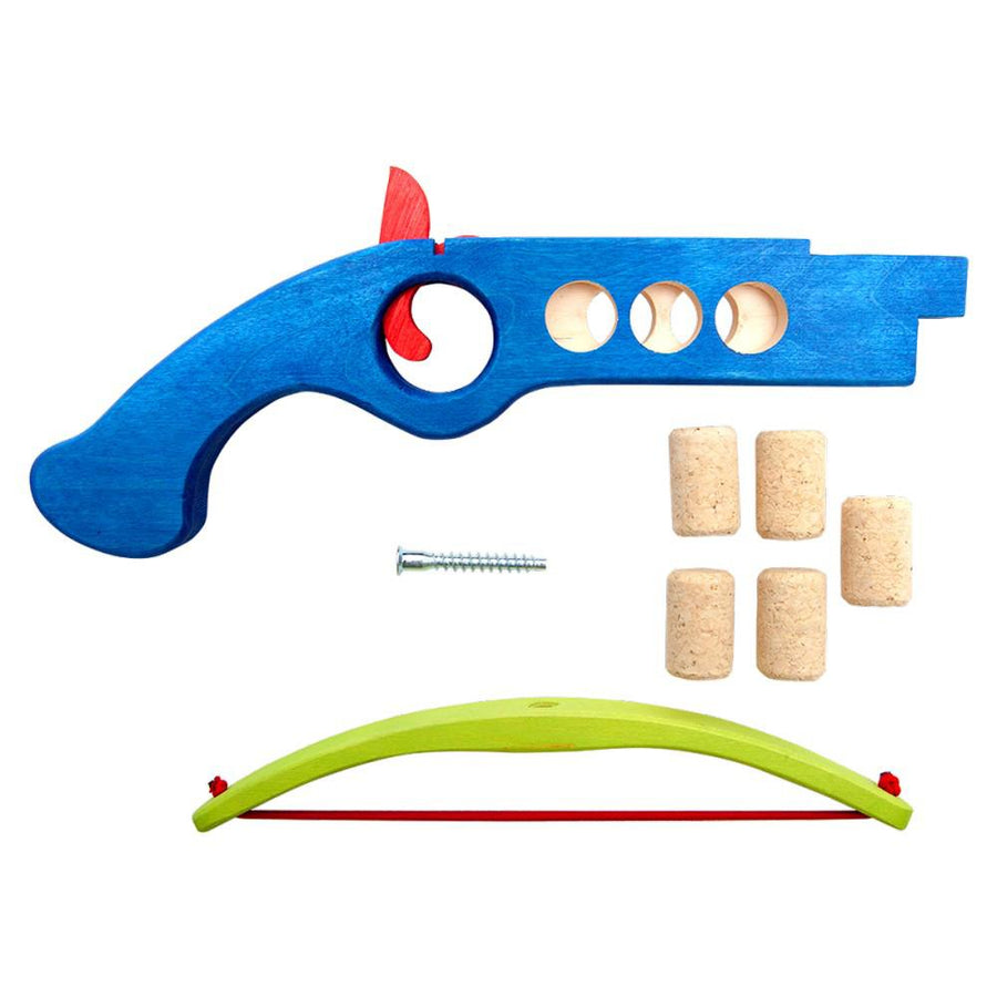 Cork Shooter - Wooden Toy Crossbow - Fauna Trade - Blue Disassembled