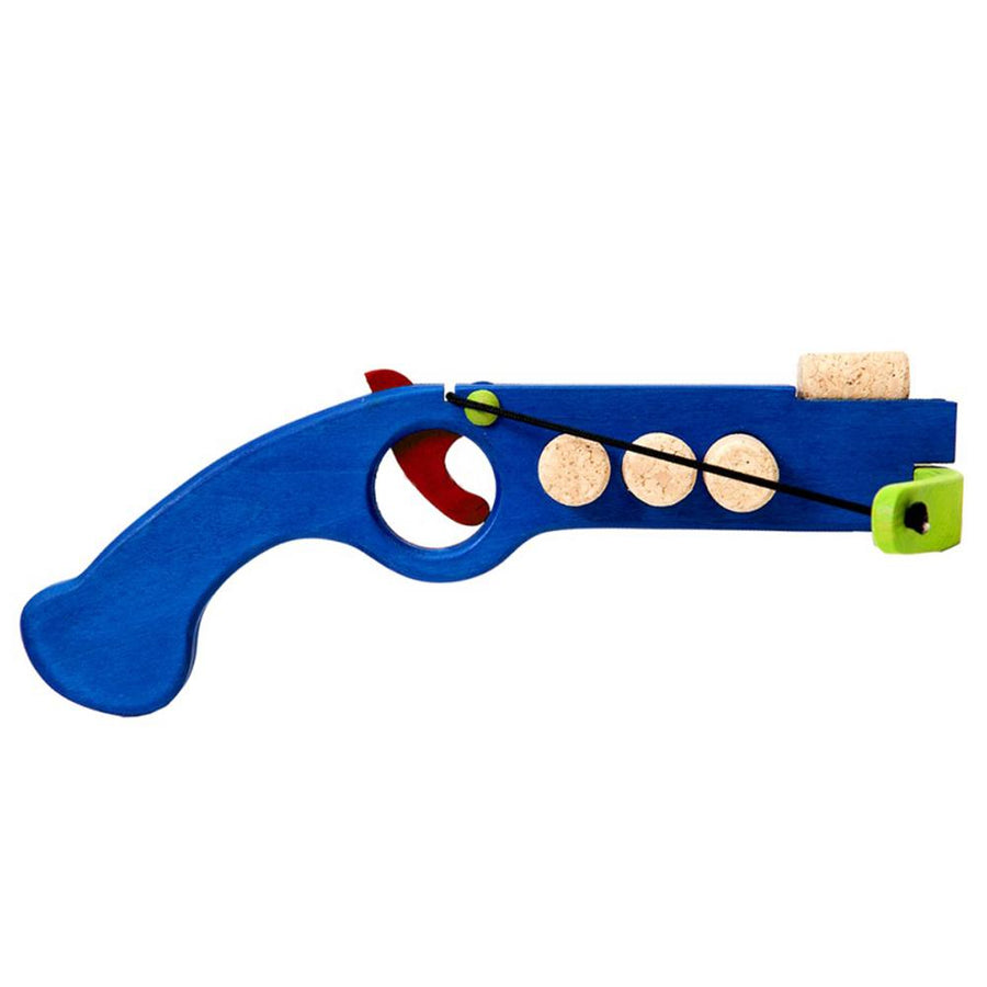 Cork Shooter - Wooden Toy Crossbow - Fauna Trade - Blue Side View