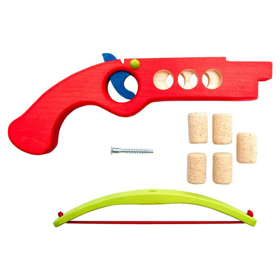 Cork Shooter - Wooden Toy Crossbow - Fauna Trade - Red Disassembled