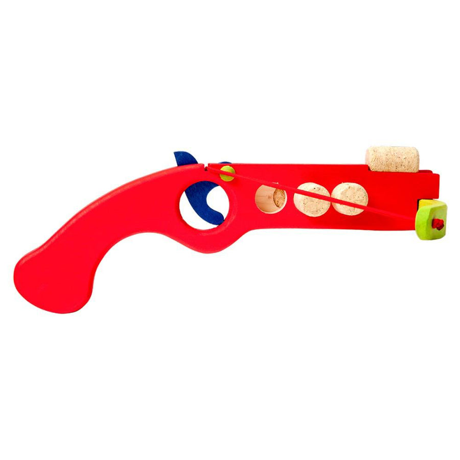 Cork Shooter - Wooden Toy Crossbow - Fauna Trade - Red Side View