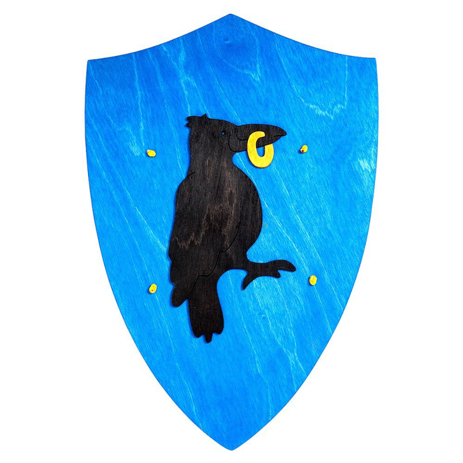 Wooden Toy Knight's Shield - Blue with Raven Crow with Gold Ring Emblem