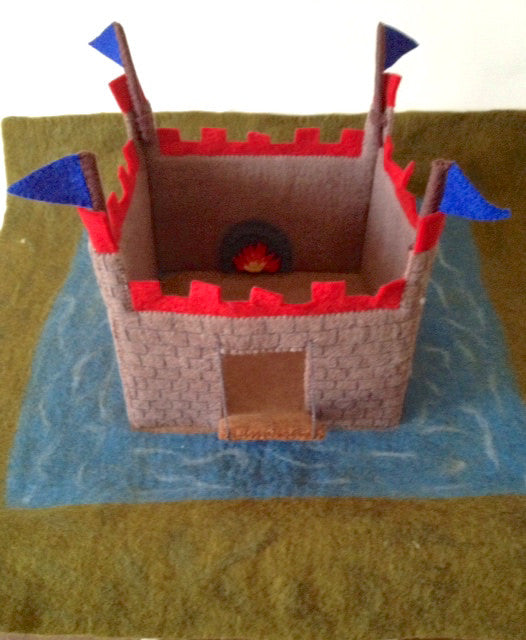 Felted Castle with Moat, Drawbridge, and 4 Removable Flags