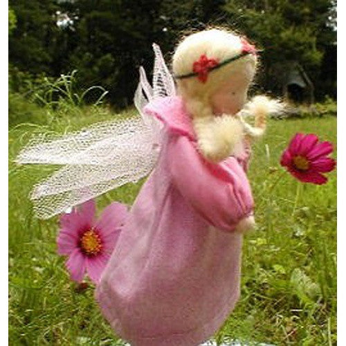 Evi Waldorf Flower Fairy Doll, Rose Blossom Pink