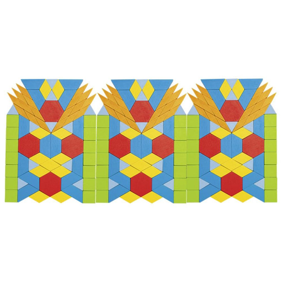 Geometric Wooden Pattern Blocks - Mosaic
