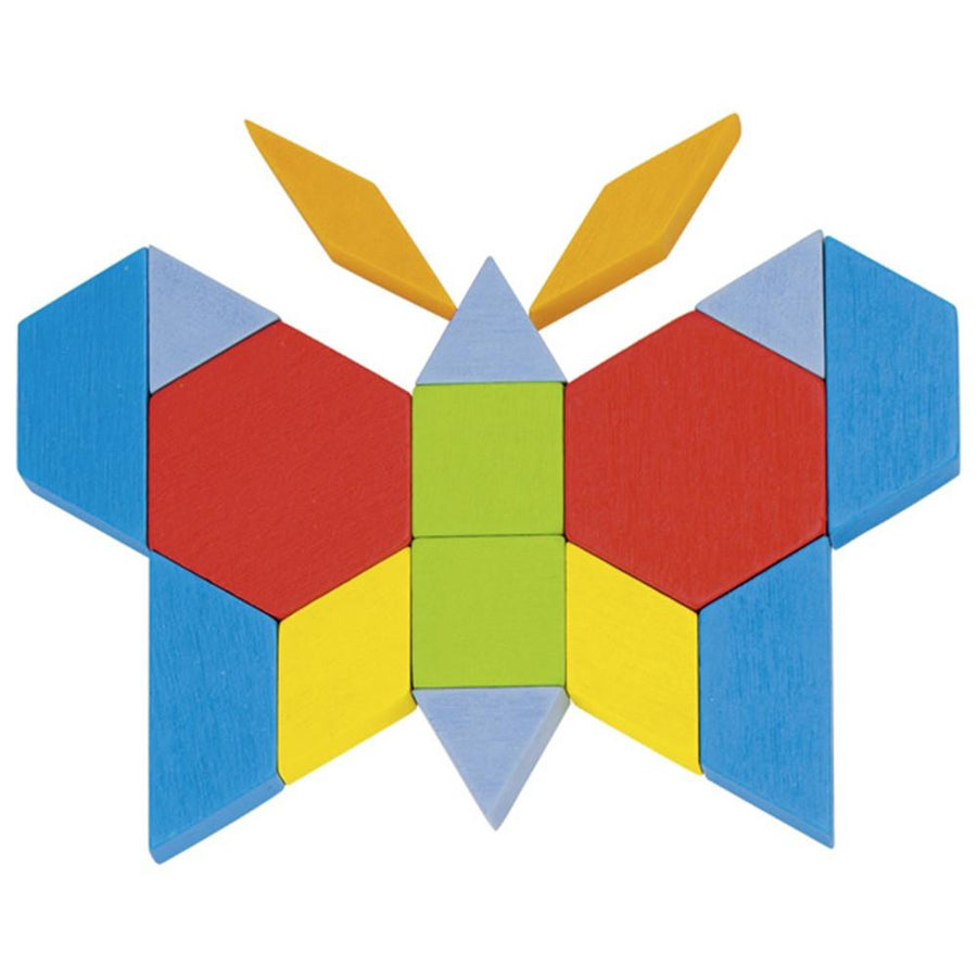 Wooden Geometric Pattern Blocks - Butterfly- Goki