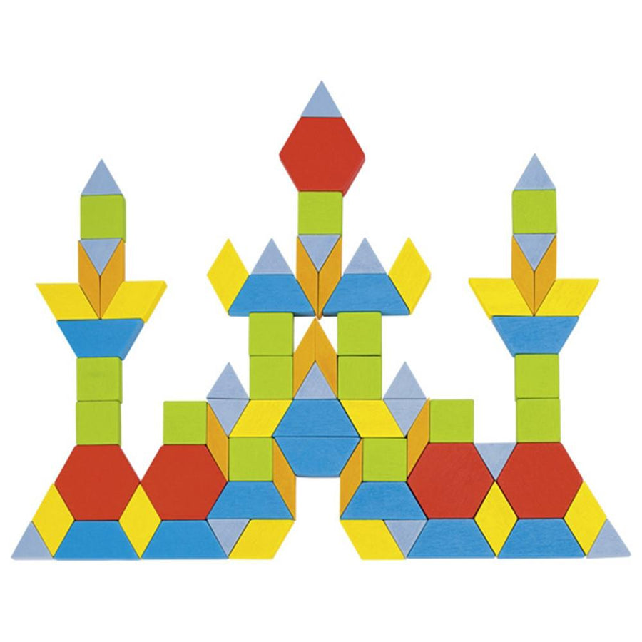 Goki Geometric Wooden Pattern Blocks - Castle