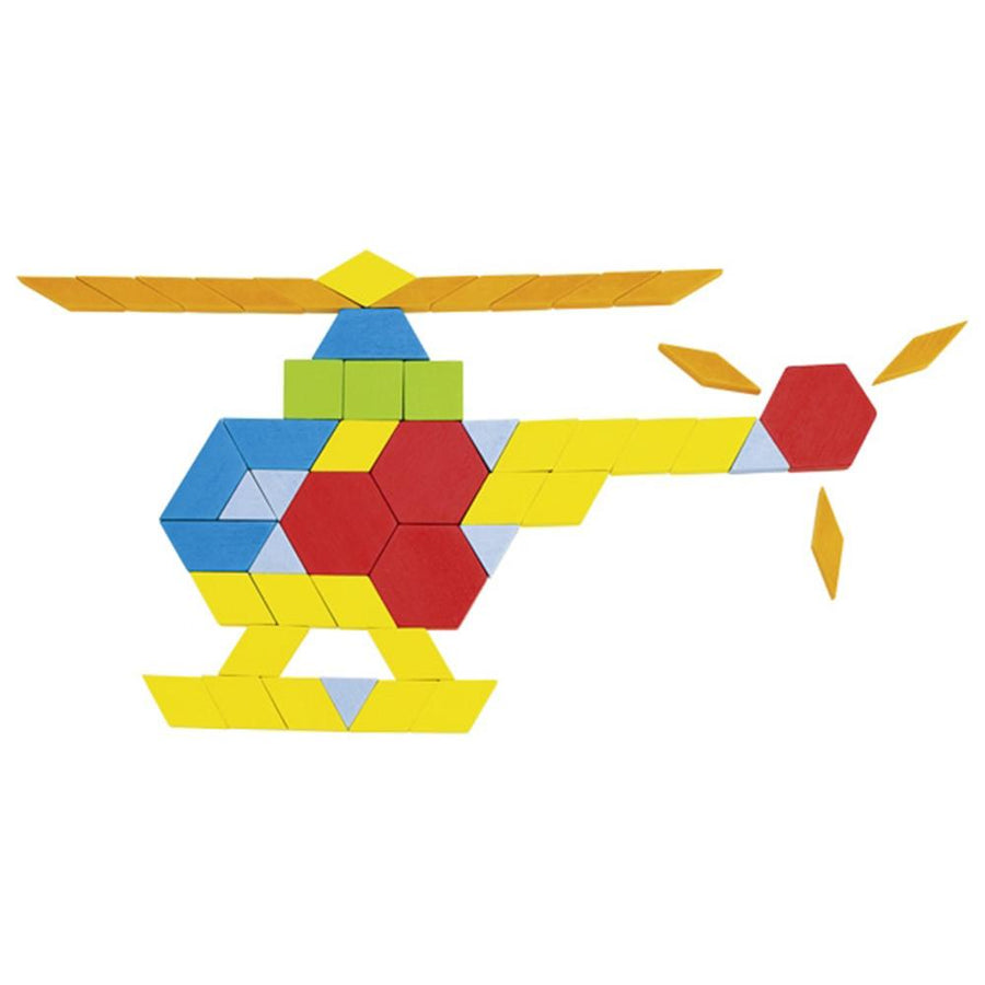 Geometric Wooden Pattern Blocks - Helicopter - Goki