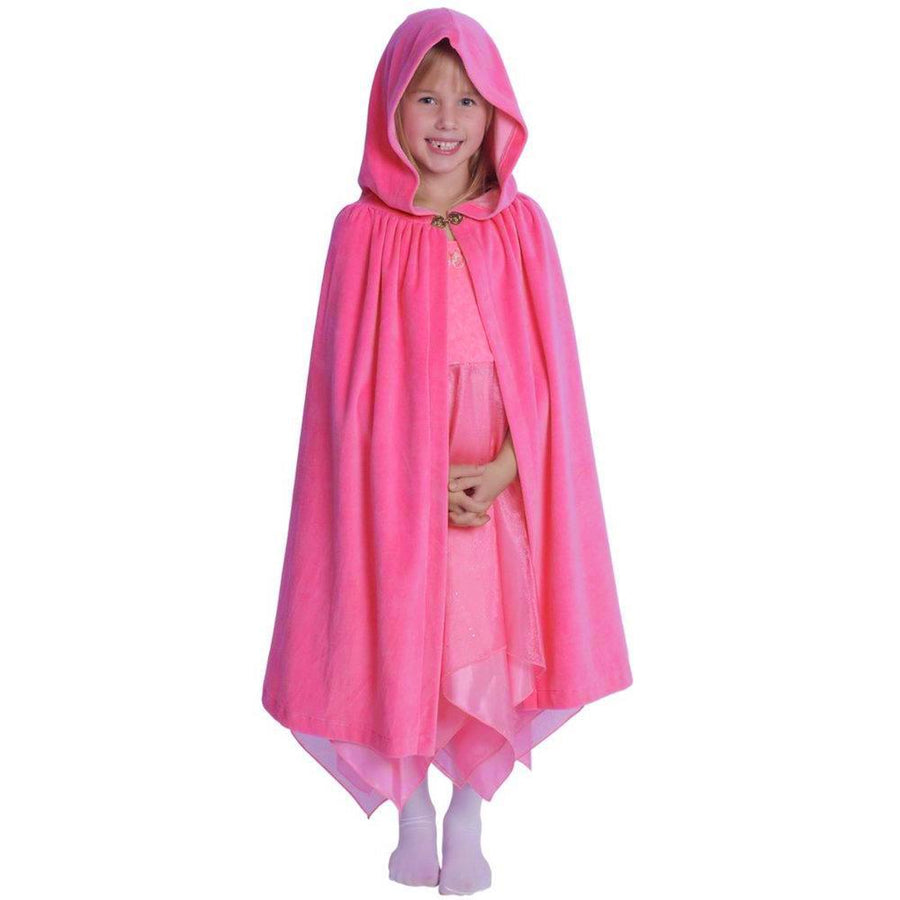 Girls Rose Pink Hooded Cape - Cotton Velour Cloak - Bella Luna Toys